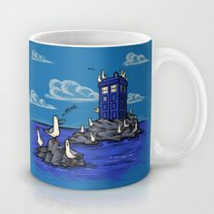 The Seagulls have the Phonebox Mug by Karen Hallion Illustrations - $15.00