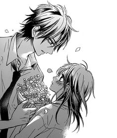 Image via We Heart It https://weheartit.com/entry/162726310/via/2462021 #bouquet #boy #cute #flowers #gift #girl #manga