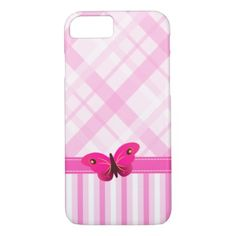 Pink Plaid and Stripes Pattern Butterfly Slim iPhone 7 Case - artists unique special customize presents