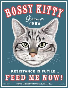 Cat Art - Bossy Kitty FEED ME NOW -  8x10 art print by Krista Brooks via Etsy