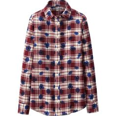 UNIQLO Women Flannel Print Long Sleeve Shirt (€8,78) ❤ liked on Polyvore featuring tops, long sleeve flannel shirts, plaid top, red flannel shirt, red long sleeve top and tartan flannel shirt