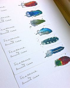 """Bookmarks WATERCOLOUR - """"Feathers"""" Series 2 - Illustration - Art - Reading accessories - Set of 5"""
