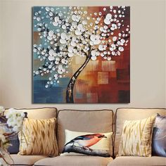 Framed Hand Paint Canvas Painting Home Decor Wall Art Abstract Flower Tree Decoration - Newchic Mobile