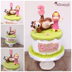 Masha and the bear birthday cake by Cakemesweet di Naike Lanza… Bear Cupcakes, Cupcake Cookies, Bear Birthday, Birthday Cake Girls, Masha Cake, Birtday Cake, Masha And The Bear, Funny Cake, Cake Gallery