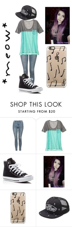 """""""Sacramento here we come, troublemakers are on the way! (Class)"""" by maryberry111 ❤ liked on Polyvore featuring Topshop, Converse, Casetify and Vans"""