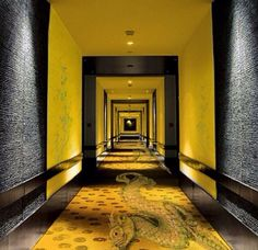 Black and Yellow at the Buddha Bar in Paris | #patternity #modern #blacknyellow #lobby #patterns #textures