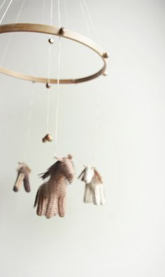 baby crib mobile - horses mobile - brown shades -  DREEMS RIDER- baby gift - made to order via Etsy