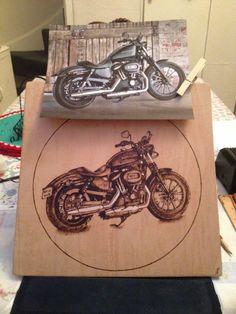 Harley Davidson motorbike woodburning pyrography portrait burnt onto ply