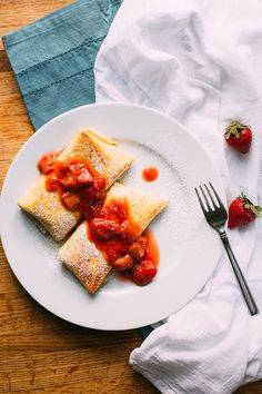 Cheese Blintz with Fruit Compote #cheese #fruit #strawberry