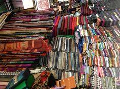 Shop for beautiful Cambodian fabrics at the Russian Markets Phnom Penh Cambodia - make great skirts.