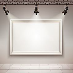 gallery room interior with blank picture frame illuminated with spotlights realistic vector illustration Poster Background Design, Powerpoint Background Design, Brick Wall Background, Frame Background, Lights Background, Background Images, Photo Frame Wallpaper, Framed Wallpaper, Flower Background Wallpaper