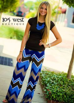 Not sure about the chevron print on the pants but I love the bold colors with this outfit.  Looks lightweight.