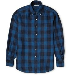 OVADIA & SONS  MIDWOOD CHECK INDIGO-DYED LINEN BUTTON-DOWN COLLAR SHIRT