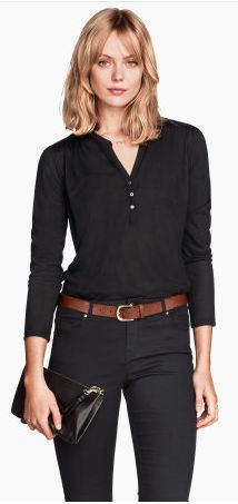 Seems to be a trendy easy professional outfit. Black skinnies, black Portifino top (From Express) just add a brown belt and boots, booties or heels. Monochromatic simple and classy.