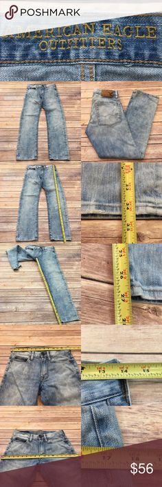 """Sz 26x28 AE Light Wash Men's Slim Leg Denim Jeans • Measurements are in photos  • Material tag is in photos • Normal wash wear, no flaws • Slim Fit • Slim leg  • Distressed Light Wash • 26x28 • Pants Measure a 27"""" inseam E4/P  Thank you for shopping my closet! American Eagle Outfitters Jeans Slim"""