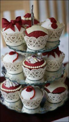 Ruby 40th Anniversary Cupcakes 40th Anniversary Cakes, Ruby Wedding Anniversary, 40th Birthday Cakes, Anniversary Parties, Anniversary Ideas, Elegant Cupcakes, Beautiful Cupcakes, Sweet Cupcakes, Yummy Cupcakes