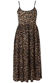 Animal strappy midi dress