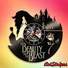 Family Tree Wall Sticker, Diy Clock, Used Vinyl, Unusual Gifts, Wall Clocks, Islamic Art, Beauty And The Beast, Vinyl Records, Silhouettes