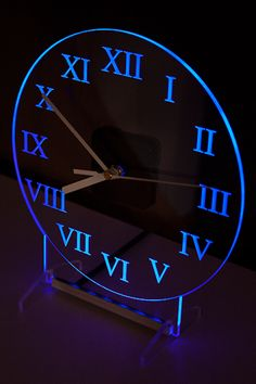 Clock with blue backlight LED. Clocks are designed and manufactured by our company. Modern design.
