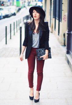 Hat : Vintage – Blazer : Manie – Tank : American Vintage – Jeans : Hudson – Jewels : Fashionology – Clutch : Zara – Heels : Ann tuil