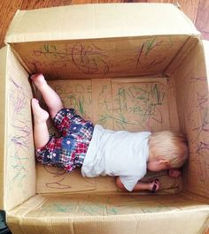 Buy yourself some time on the couch by letting your kid go all Picasso in a box. | 28 Genius Hacks Every Lazy Parent Needs To Know