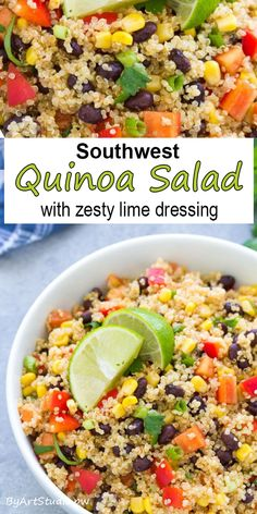 A healthy Southwest Quinoa Salad with Zesty Lime Dressing. You can make this cold quinoa salad ahead for meal prep lunches or dinners. Quinoa Salad Recipes Cold, Cold Quinoa Salad, Mexican Quinoa Salad, Southwest Quinoa Salad, Mexican Salads, Mediterranean Quinoa Salad, Side Salad Recipes, Healthy Salad Recipes, Vegetarian Recipes