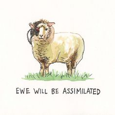 Original Painting, Borg Sheep, Ewe Will Be Assimilated 8x10 Perfect addition to our gallery wall.