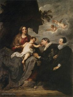 "Painting ""Virgin met de donoren"" by Sir Anthony van Dyck - www.schilderijen.nu"
