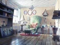 Old man house´s Picture  (3d, cartoon, light, house, furniture, room, interior)