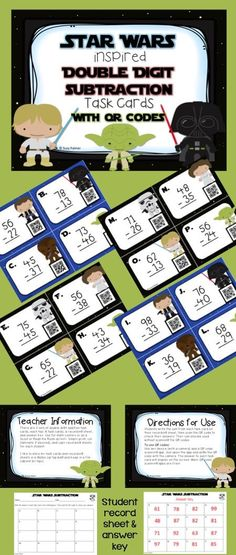 Are your students practicing double digit subtraction (with regrouping)? Are they tired of the same old math centers? When you introduce these Star Wars inspired task cards with QR codes, you'll be as wise as Yoda and your students will get to practice their Jedi skills while getting instant feedback when they scan the QR codes.