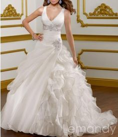 V neck princess organza wedding dress with straps lace-up back. $255.00, via Etsy.