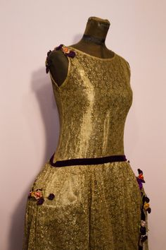 1920's Gold Metallic Lace Dress with Panniers and by GarbOhVintage, $1100.00