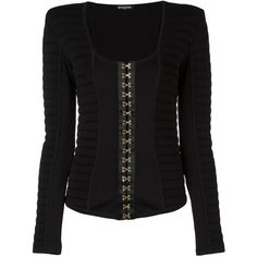 Balmain ribbed hook fastened top (8.387.495 COP) ❤ liked on Polyvore featuring tops, black, ribbed top, square neck top, long sleeve tops and balmain