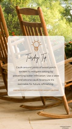 TUESDAY TIP: Caulk Caulk around the joints of your wooden rockers to prevent water infiltration and rot. Make sure to use a latex and silicone caulk so it will be paintable. Like and follow for more tips! #TuesdayTip #Furniture #Wood #DIY #UnfinishedFurnitureofWilmington Wooden Rocker, Unfinished Furniture, Rockers, Tuesday, Latex, Web Design, Tips, Design Web, Website Designs