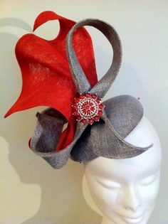Red and gray fascinator