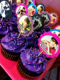 24ct Justin Bieber cupcake toppers personalized by JayPeaCreations, $13.00