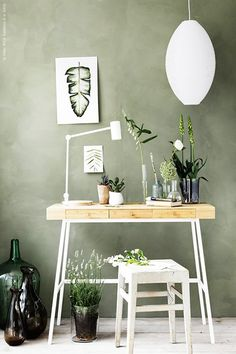 Sage green walls with desk and chair Ikea Design, Ikea Workspace, Ikea Office, Ikea Wood Desk, Office Decor, Bedroom Workspace, Workspace Design, Office Ideas, Room Inspiration