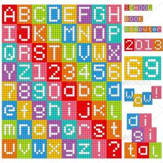 Buy Pixel Alphabet by kaludov on GraphicRiver. Set of all letters and numbers. Each one is separated from background. Vector file (EPS fully e. Motifs Perler, Perler Patterns, Loom Patterns, Beading Patterns, Pulseras Kandi, Bead Loom Designs, Pixel Art Grid, Graph Paper Art, Pixel Crochet