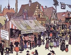 Food market in Alsace way back when.  See more info on Alsace at http://www.french-culture-adventures.com/alsace-wine.html  Market stall selling gingerbread in the early 20th century.