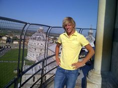 The holland ice skater Ronald Mulder on the top of the Leaning Tower