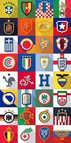 World Cup 2014 team crests – Flat Design Brazil World Cup, World Cup Russia 2018, World Cup 2014, Best Football Team, World Football, Soccer World, Soccer Art, Soccer News, Nike Soccer