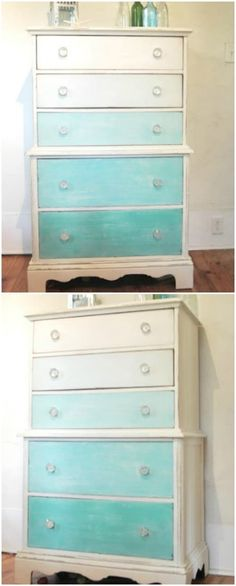 Give a dresser a beach vibe by painting it in ombre teal colors. Give a dresser a beach vibe by painting it in ombre teal colors. As it pertains to master bedroom furnishings concepts, a few things consider heart stage. Teal Rooms, Bedroom Turquoise, Teal Walls, Turquoise Furniture, House Color Schemes, House Colors, Teal Dresser, Teal Paint, Big Girl Rooms