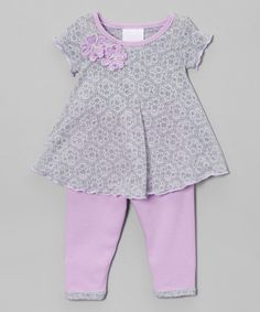 This Too Sweet Gray & Lavender Geometric Swing Top & Leggings - Infant by Too Sweet is perfect! Swing Top, Julia, Tops For Leggings, Carters Baby, Kids Fashion, Infant, Lavender, Rompers, Grey