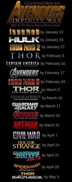 The countdown to Infinity War is on! Starting now, watch one movie a week to see every film in the Marvel Cinematic Universe before Infinity Wars hits theaters. We've got the full schedule, including where you can watch!