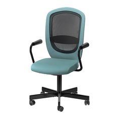IKEA - FLINTAN / NOMINELL, Drehstuhl mit Armlehnen, türkis, , Die Sitzfläche lässt sich auf bequeme Arbeitshöhe einstellen.Die integrierte Lendenwirbelstütze entlastet und stützt das Rückgrat.Rückenlehne mit Netzgeflecht für gute Ventilation auch bei längerem Sitzen.Die Rollen mit Gummiüberzug gleiten sanft über jede Art von Fußbodenbelag.Sorgt für Entlastung von Armen und Schultern.
