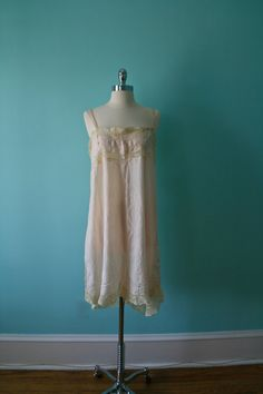 Vintage Sik Teddy Step-in / 1920s Lingerie Slip / Flapper Gatsby / Plus Size
