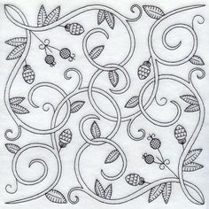 This design features nature elements in traditional Blackwork embroidery. Perfect for bedding and linens, garments, curtains and tie backs, and more!
