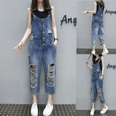 e25bbe5ffd13f New 2018 Summer Womens Denim Jumpsuits Overalls SexyJeans Casual Loose Hole  Pocket Spring Wide Leg Pants Femme F291-in Jumpsuits from Women's Clothing  ...