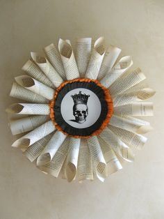 *Paper wreath - add an owl or thanksgiving quote in the middle instead of the skull.