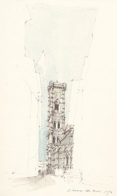 Santa Maria del Fiori, pencil drawing with water colour